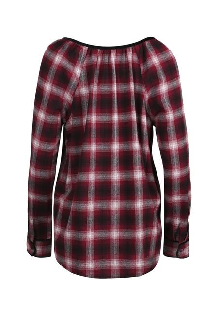 Ladies' Flannel Lace Up Top, WINE, hi-res