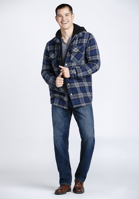Men's Plaid Flannel Shirt Jacket, NAVY, hi-res