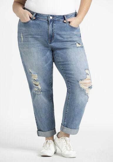 Women's Plus Destroyed Cuffed Girlfriend Jeans, MEDIUM WASH, hi-res