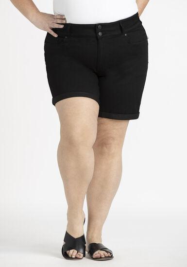 Women's Plus 2 Button Black Cuffed Midi Short, BLACK, hi-res