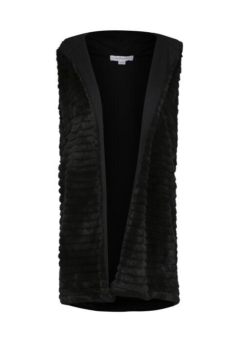 Ladies' Faux Fur Vest, BLACK, hi-res