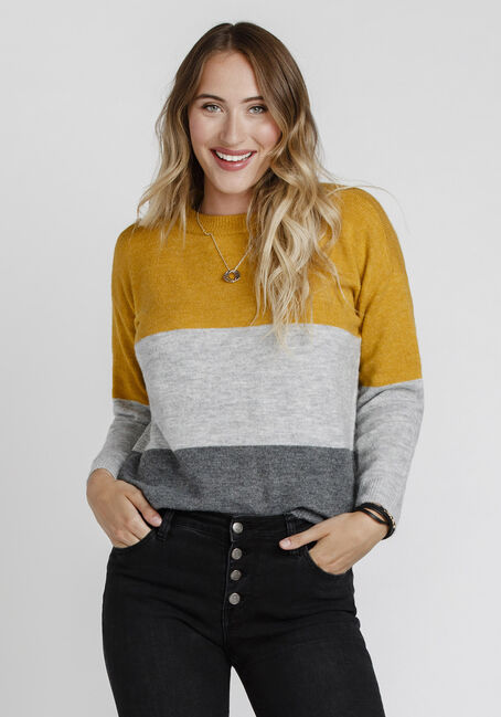 Women's Colour Block Sweater, MUSTARD, hi-res