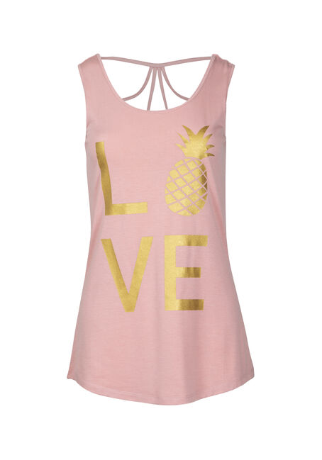 Women's Love Pineapple Cage Back Graphic Tank