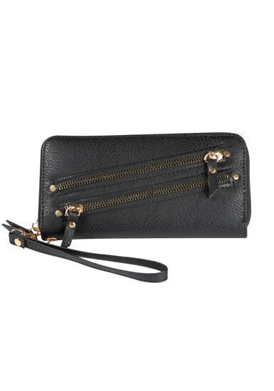 Women's Wristlet Wallet, BLACK, hi-res