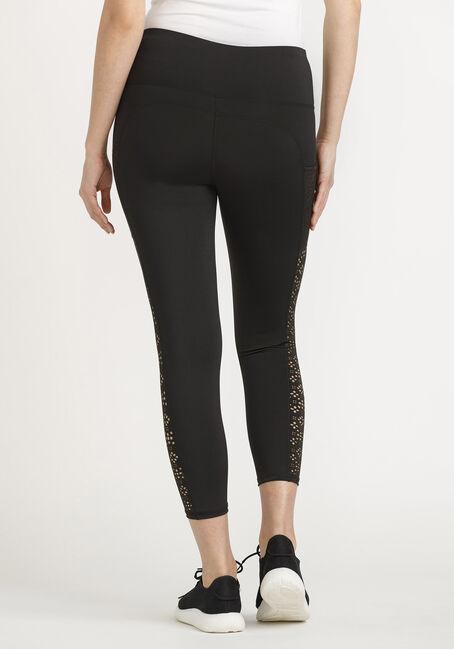 Women's Laser Cut Capri Legging, BLACK, hi-res