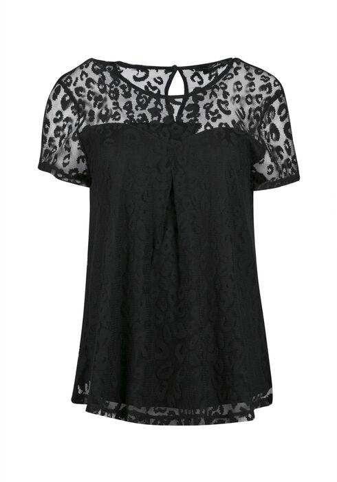 Ladies' Animal Lace Top, BLACK, hi-res