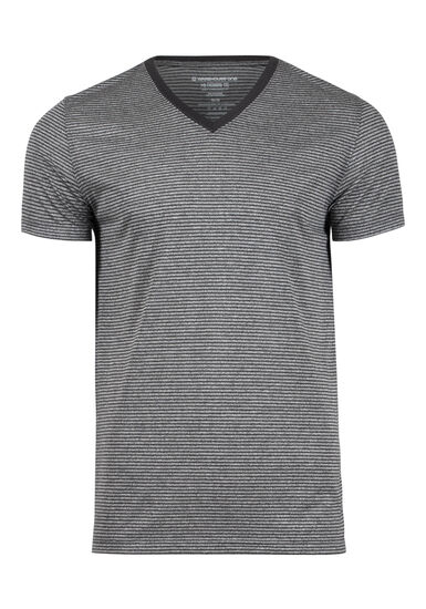 Men's Everyday V-Neck Mini Stripe Tee, CHARCOAL, hi-res
