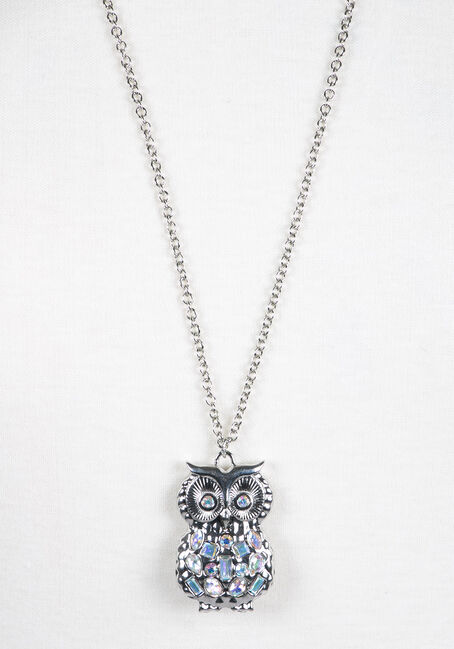 Ladies' Iridescent Owl Necklace, RHODIUM, hi-res
