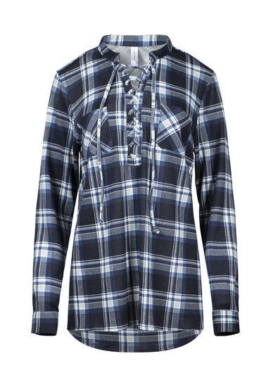 Women's Lace Up Knit Plaid Shirt, BLUE, hi-res