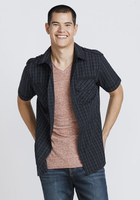 Men's Mini Plaid Shirt, BLACK, hi-res