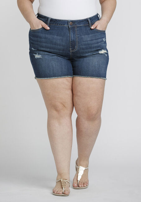 Women's Plus Size Frayed Midi Jean Short