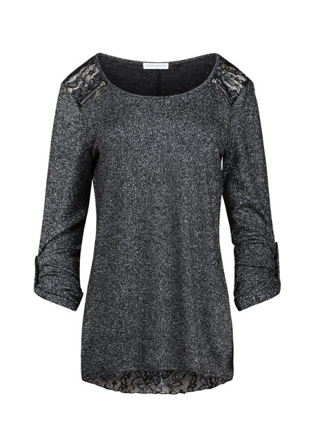 Women's Lace Insert Shimmer Top