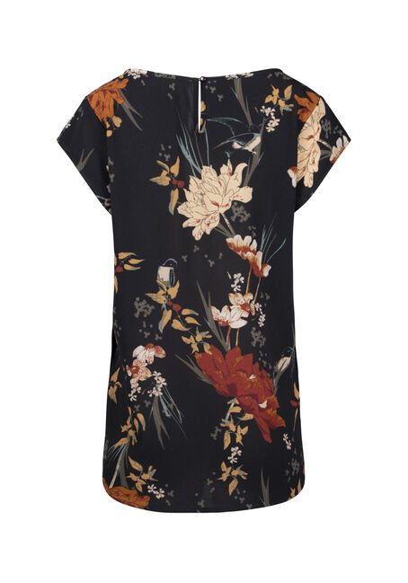 Women's Floral Scoop Neck Tee, BLACK, hi-res