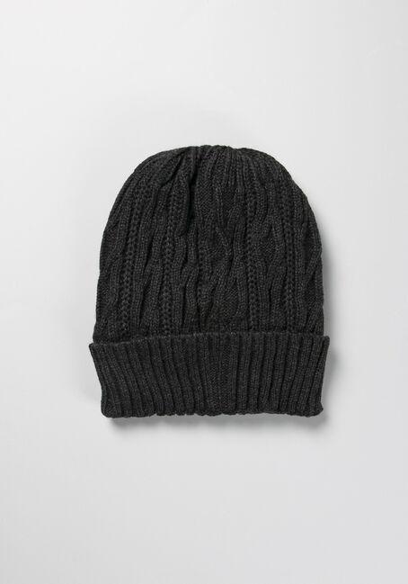 Men's Cable Knit Toque, GREY, hi-res