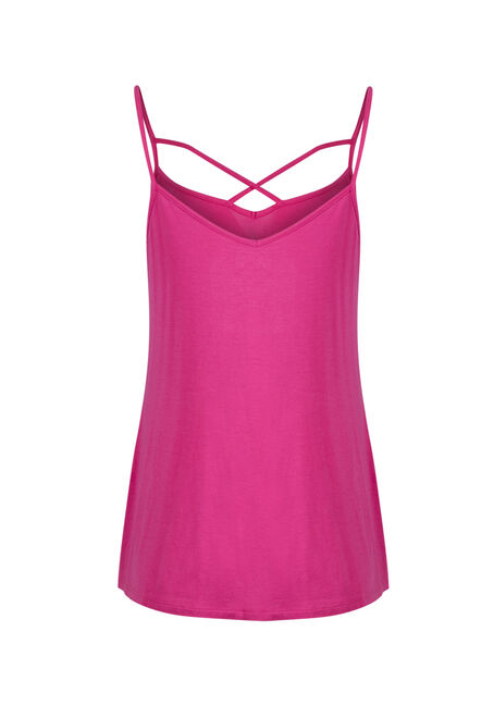 Ladies' Cage Neck Strappy Tank, RASPBERRY, hi-res