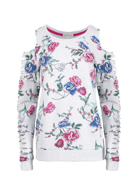 Women's Floral Shredded Sleeve Fleece
