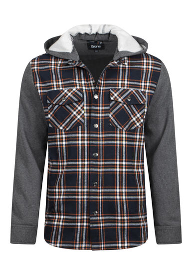Men's Hooded Plaid Shirt Jacket, NAVY, hi-res