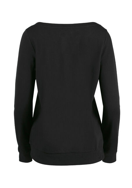 Women's Crew Neck Fleece, BLACK, hi-res