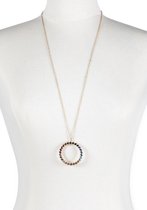 Women's Multi Coloured O Necklace, GOLD, hi-res