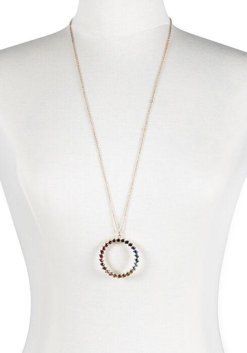 Ladies' Multi Coloured O Necklace, GOLD, hi-res