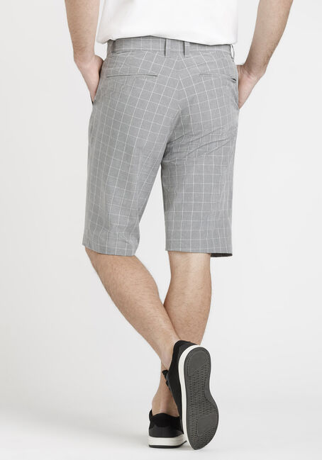 Men's Grey Plaid Hybrid Shorts, GREY, hi-res