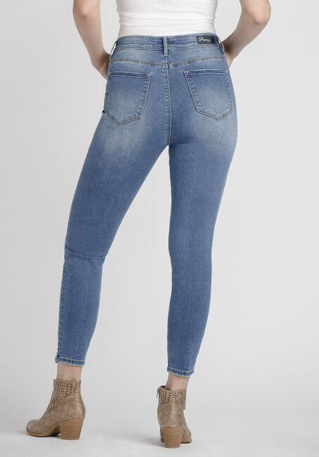 Women's Power Sculpt Chewed Hem High Rise Skinny Jeans, MEDIUM WASH, hi-res