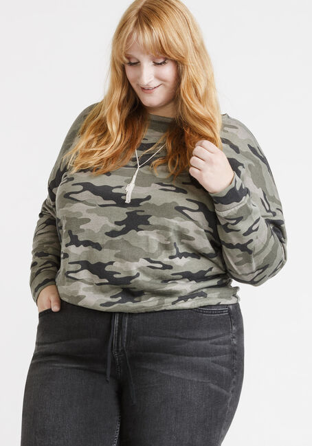 Women's Camo Sweatshirt, GREEN, hi-res