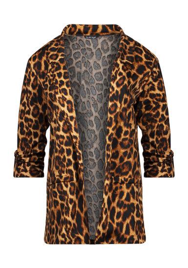 Women's Leopard Print Blazer, BLACK/TAUPE, hi-res