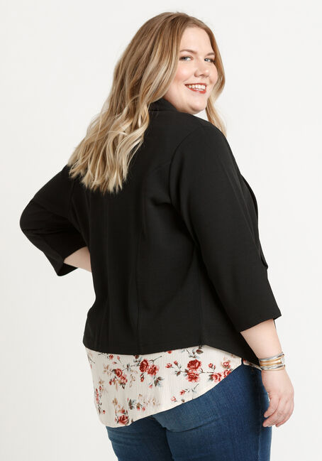 Women's Knit Blazer, BLACK, hi-res