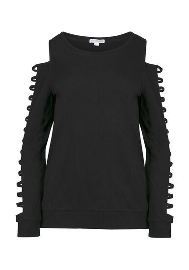 Women's Ladder Sleeve Fleece, BLACK, hi-res