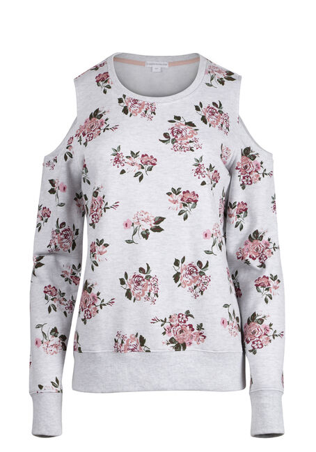 Ladies' Floral Cold Shoulder Fleece