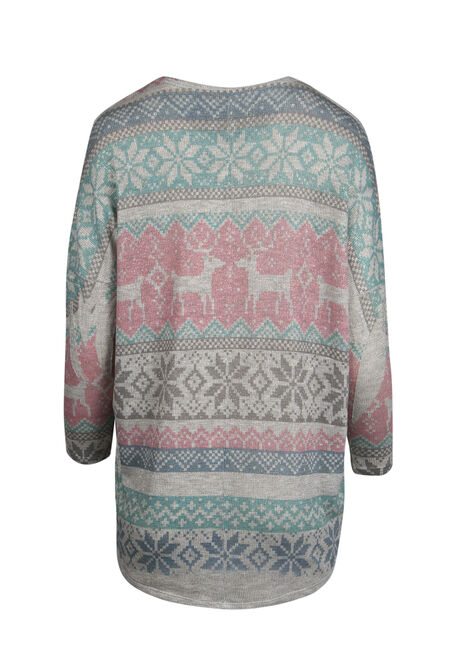 Ladies' Fair Isle Top, HEATHER GREY, hi-res
