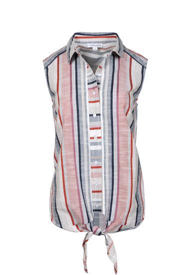 Women's Stripe Tie Front Shirt, IVORY, hi-res