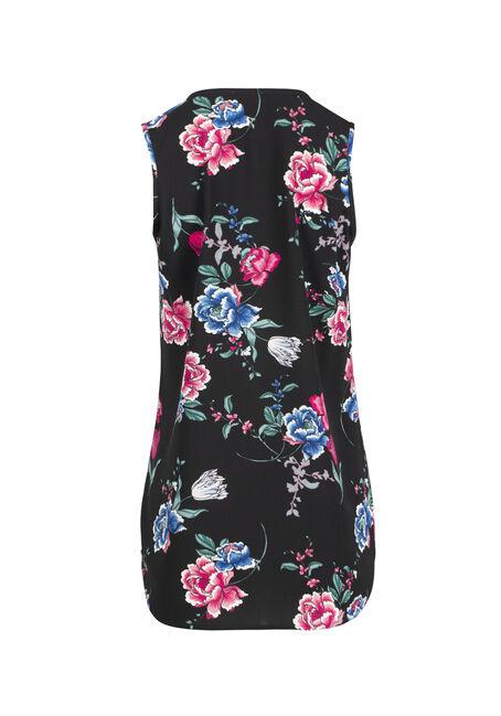 Ladies' Floral Half Zip Tank, BLACK, hi-res
