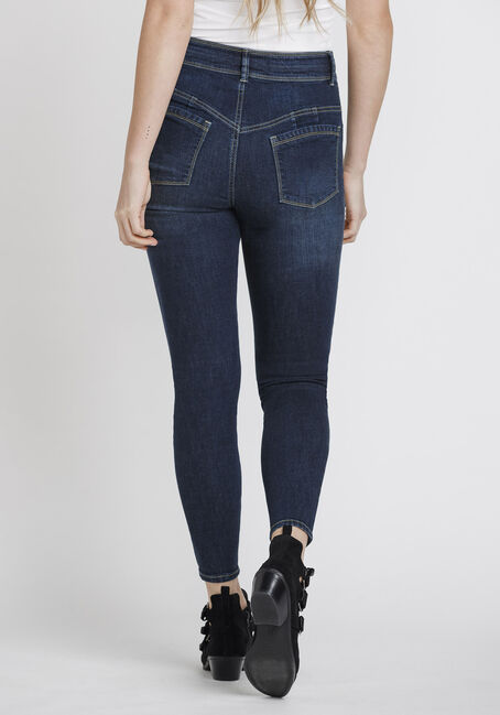 Women's Stacked Waist Skinny Jeans, DARK WASH, hi-res