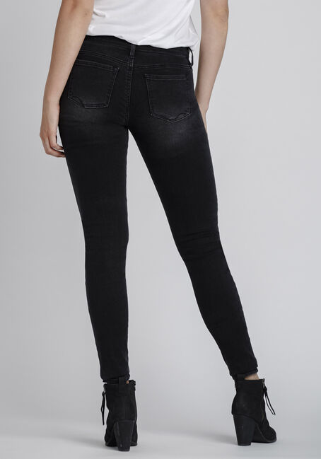 Women's Black Distressed Skinny Jeans, BLACK, hi-res