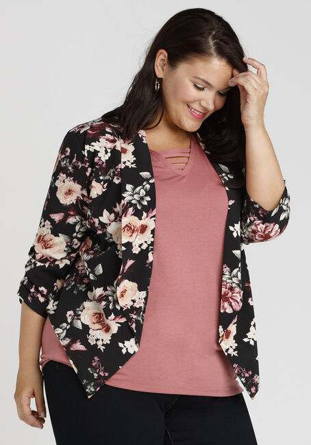 Ladies' Floral Blazer, BLACK, hi-res