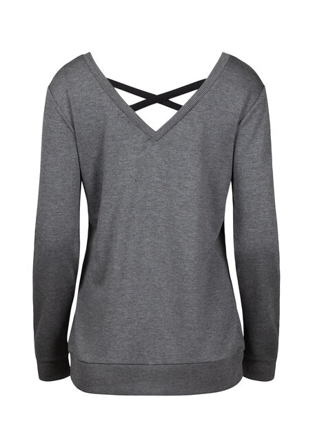 Women's Cage Back Fleece, CHARCOAL, hi-res
