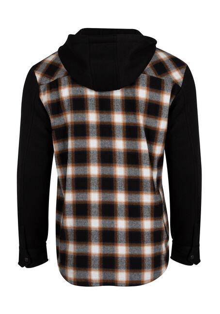 Men's Knit Sleeve Shirt Jacket, BROWN, hi-res
