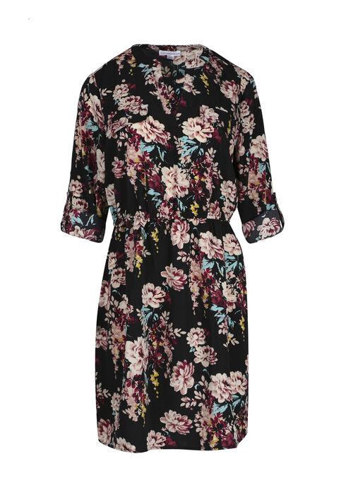 Women's Floral Shirt Dress, BLACK FLORAL, hi-res