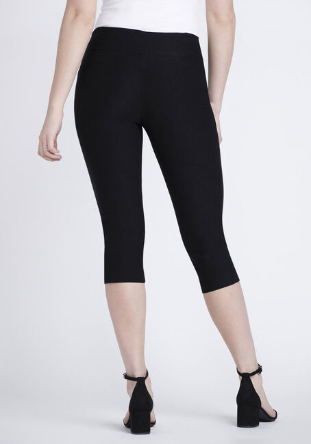 Women's Pull-On Black Capri Pant, BLACK, hi-res