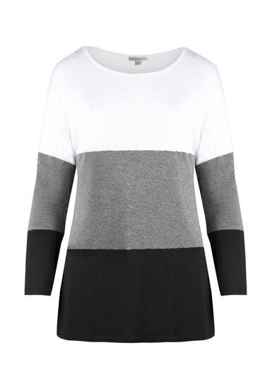 Ladies' Colour Block Tunic Top, WHITE, hi-res