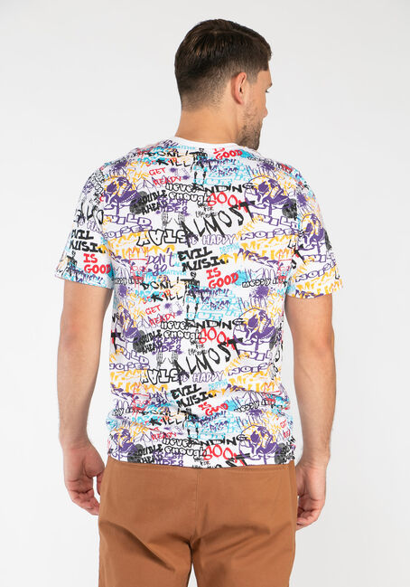 Men's Multicolour Graffiti Tee, MULTI, hi-res