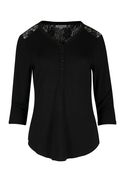 Ladies' Lace Insert Henley Tee, BLACK, hi-res