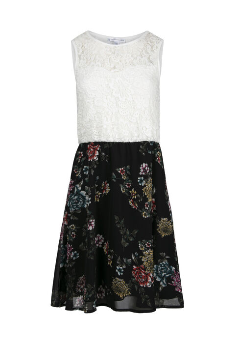 Women's Lace Floral Skater Dress, WHITE, hi-res