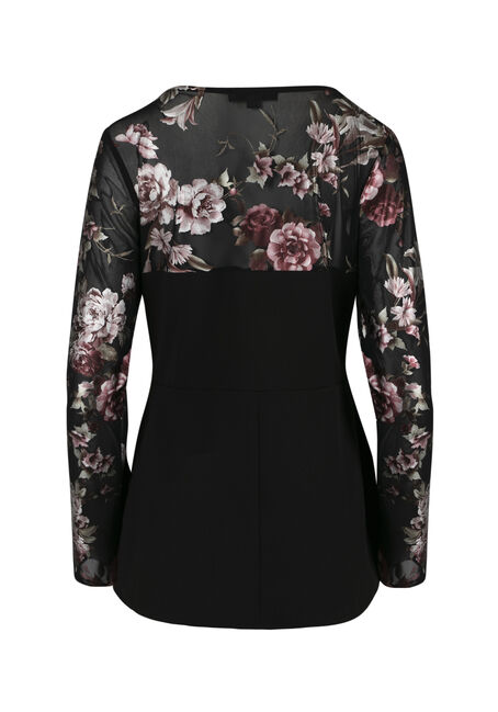 Ladies' Floral Peplum Top, BLACK, hi-res
