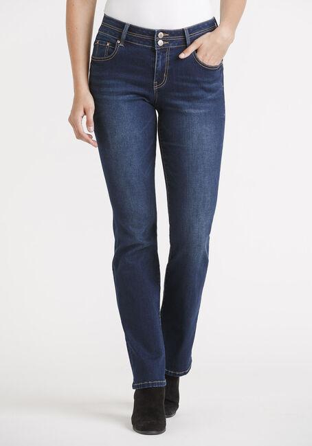 Women's 2 Button Dark Straight Jeans