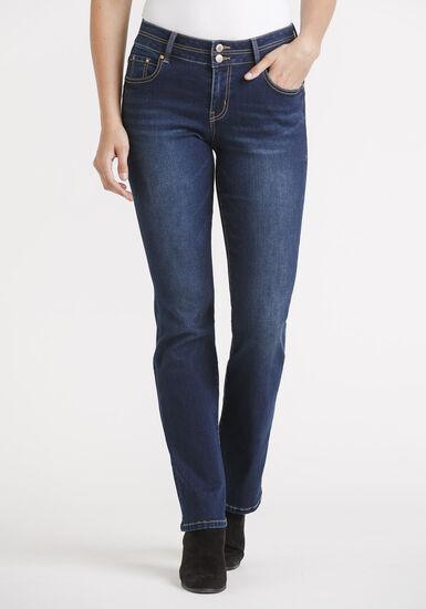 Women's 2 Button Dark Straight Jeans, DARK WASH, hi-res