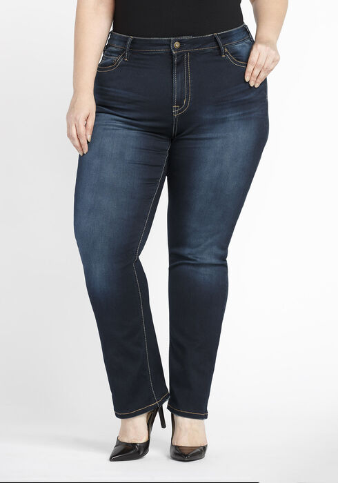 Ladies' Plus Size Hi-Rise Straight Jeans, DARK WASH, hi-res