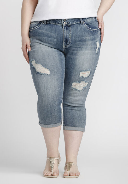Women's Plus Size Mid Rise Cuffed Capri, LIGHT WASH, hi-res
